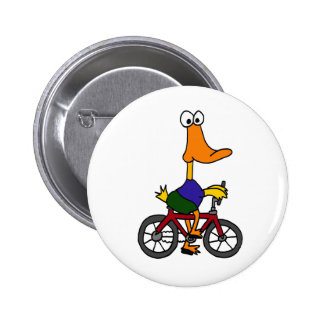 BD- Duck Riding Bicycle Cartoon Buttons
