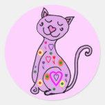 BD pegatinas lindos del dibujo animado del gato Etiquetas Redondas