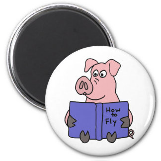 BD- Pig Reading How to Fly Book 2 Inch Round Magnet