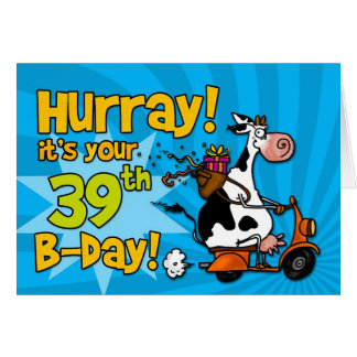 bd scooter cow - 39 greeting card