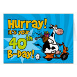 bd scooter cow - 40 greeting card