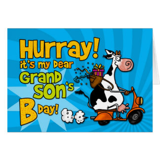 bd scooter cow - grand son greeting card