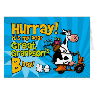 bd scooter cow - great grandson greeting card