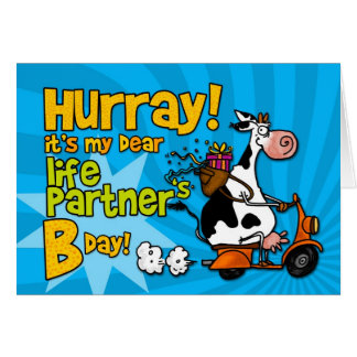 bd scooter cow - life partner card