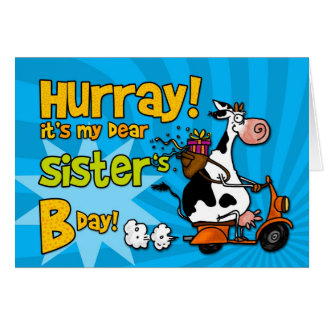 bd scooter cow - sister greeting cards