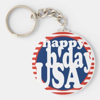 B'day feliz los E.E.U.U. Llavero Redondo Tipo Pin