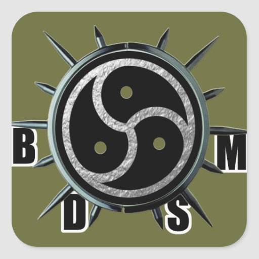 BDSM Symbol and Metal Spiked Collar Square Sticker