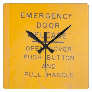 BE-18 Emergency Door Release Design Square Wall Clock