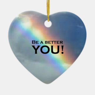 Be a Better YOU! Double-Sided Heart Ceramic Christmas Ornament