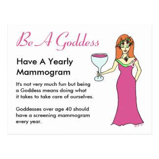 Be A Goddess, Have A Mammogram Wine Goddess BCA Postcard
