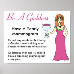 Be A Goddess, Have A Mammogram Wine Goddess BCA Poster