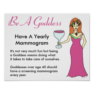 Be A Goddess, Have A Mammogram Wine Goddess BCA Poster