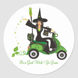 """Be a Good Witch """"Go Green"""" Classic Round Sticker"""