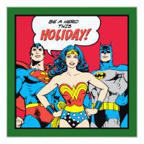 christmas, holiday, seasons greetings, xmas, wonder woman, superman, batman, be a hero, super hero, Invitation with custom graphic design