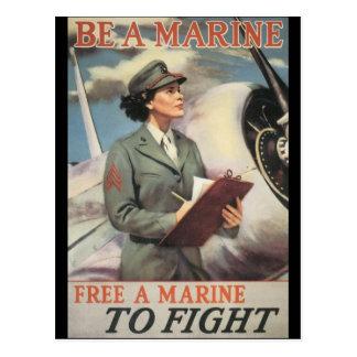 Be A Marine World War II Postcard