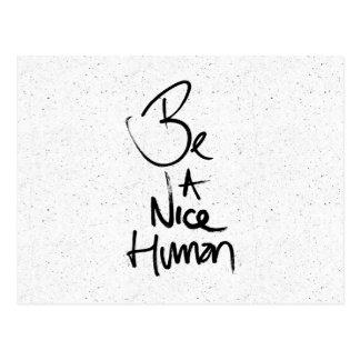 """Be a Nice Human"" Typography Design Postcard"