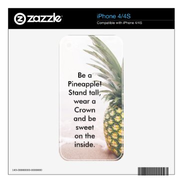 Beach Themed Be a Pineapple cell phone case Decal For The iPhone 4S
