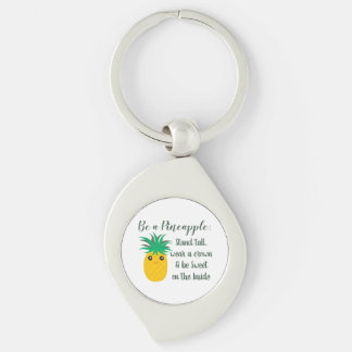Be A Pineapple Inspirational Motivational Quote Keychain