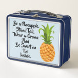 """Be a Pineapple Lunch Box<br><div class=""""desc"""">Whether you use if for lunch,  display or storage,  you&#39;ll make an impression with this cute metal lunchbox.</div>"""