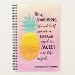"Be a Pineapple Motivational Quote Planner<br><div class=""desc"">Be a Pineapple Planner : Watercolour typography quote art planner. The background is watercolour base in shades of yellow and pink.The illustration of a pineapple with the quote:  Be a pineapple,  stand tall,  wear a crown and be sweet on the inside. Our best seller!</div>"