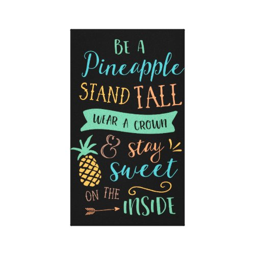 Be a Pineapple Quote Inspirational Canvas wall art