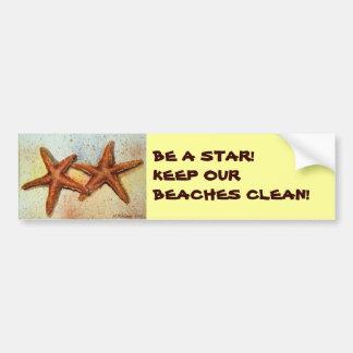 BE A STAR!KEEP OUR BEACHES CLEAN! STARFISH CAR BUMPER STICKER