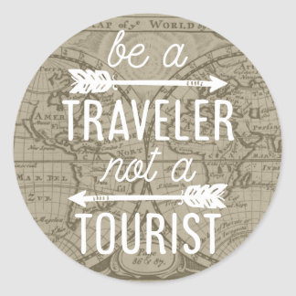 Be a Traveler Not a Tourist Map Typography Quote Classic Round Sticker