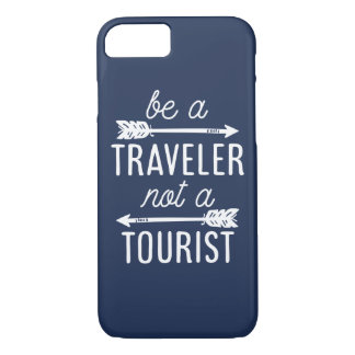 Be a Traveler Not a Tourist Navy Blue Quote iPhone 7 Case