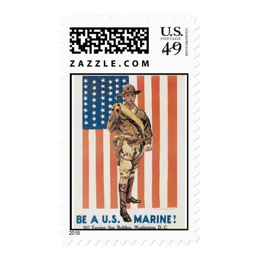 Be A US ***** Vintage War Recruit poster Postage Stamps