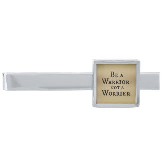 Be a Warrior, Not a Worrier Christian Quote Silver Finish Tie Bar