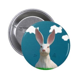 Be Afraid! Creepy Bunny Art! Pinback Button