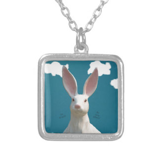 Be Afraid! Creepy Bunny Art! Silver Plated Necklace