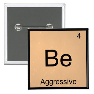 Be - Aggressive Funny Chemistry Element Symbol Tee Pinback Button