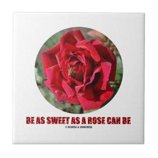 Be As Sweet As A Rose Can Be (Bee On A Red Rose) Ceramic Tile