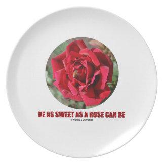 Be As Sweet As A Rose Can Be (Bee On A Red Rose) Dinner Plate