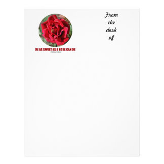 Be As Sweet As A Rose Can Be (Bee On A Red Rose) Letterhead