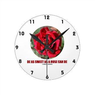Be As Sweet As A Rose Can Be (Bee On A Red Rose) Round Clock