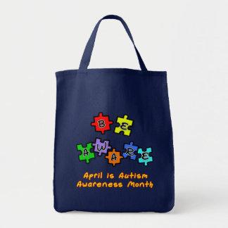 BE AWARE - April is Autism Awareness Month Tote Bag