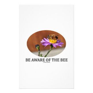 Be Aware Of The Bee (Bee On A Flower) Stationery