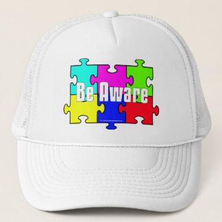 """Be Aware"" Puzzle Pieces Autism Awareness Hats"