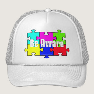 """Be Aware"" Puzzle Pieces Autism Awareness Hats"
