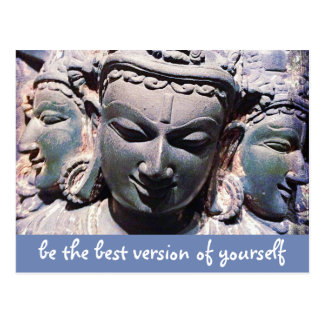 """Be best version"" quote Asian stone faces photo Postcard"