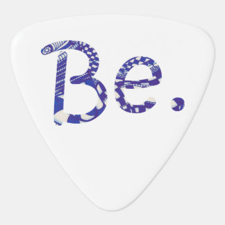 Be. Blue White Abstract Drawing Word Guitar Picks