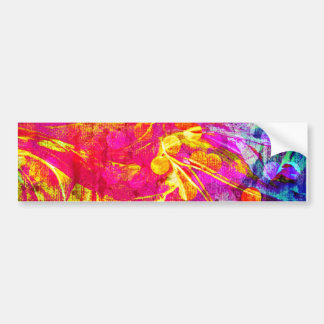Be Bold, Colorful Rainbow Abstract Floral Painting Bumper Stickers