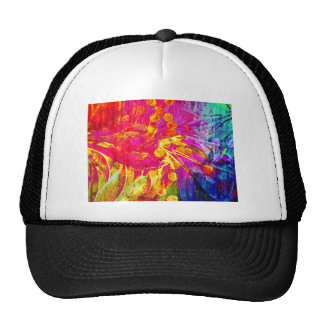 Be Bold, Colorful Rainbow Abstract Floral Painting Mesh Hat