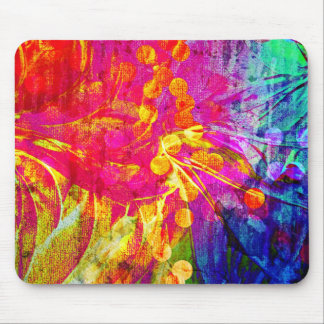 Be Bold, Colorful Rainbow Abstract Floral Painting Mouse Pad