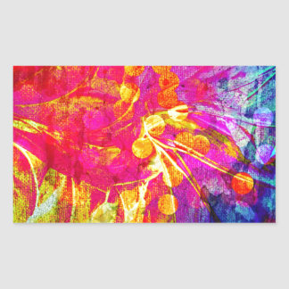 Be Bold, Colorful Rainbow Abstract Floral Painting Rectangle Sticker