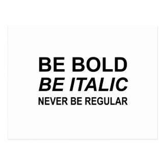 Be Bold Italic Regular Font Postcard