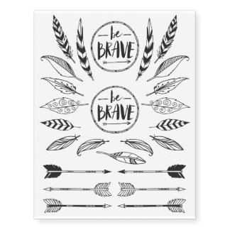 Be Brave Feather & Arrows Temporary Tattoos