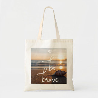 Be Brave Typography Seashell Ocean Sand Tote Bag